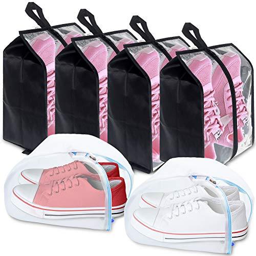 Plusmart Travel Shoe Bags,Transparent Nylon Shoe Washing Bags with Zipper for Men & Women, 6 Pack(4 Shoe Bags & 2 Shoe Washing Bags)