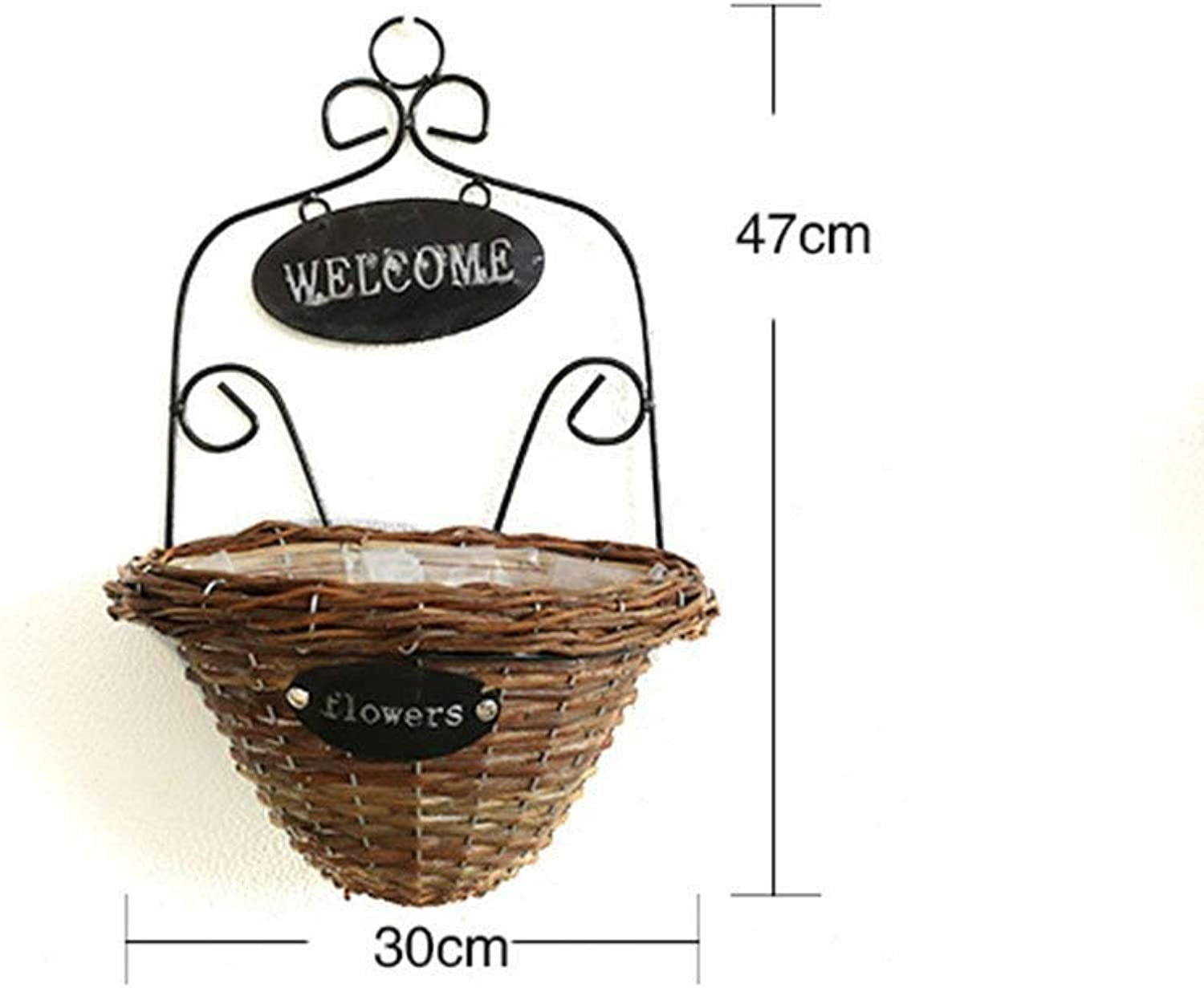 CWJ Vintage Wall Artwork Pastoral Village Willow Handcrafted Wall Ironwork Flower Baskets Home Shopcreative Hanging Ornament