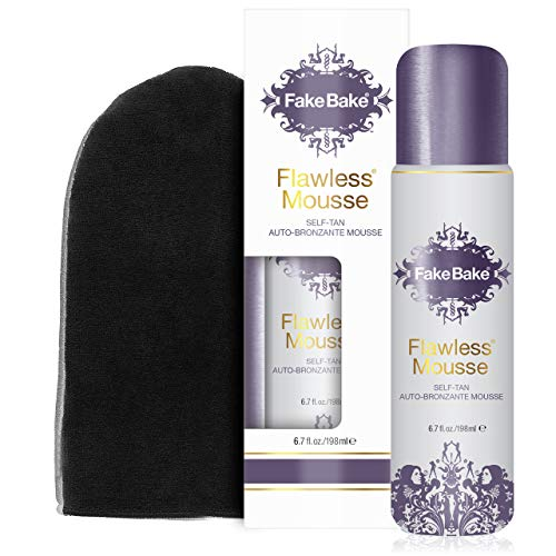 Fake Bake Flawless Mousse Self-Tanning, Naturally Derived Sunless Bronzer Instant Streak-Free Natural Looking Glow For All Skin Tones  Easy Application Professional Mitt Included Paraben-Free 6.7 oz