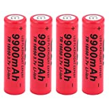 4Pcs 18650 Battery Li-ion Rechargeable Battery 9900Mah 3.7V Li-ion Battery 18650 Rechargeable Battery Polymer Battery Button Top Battery for LED Flashlight Torch Fan-not Flat Top