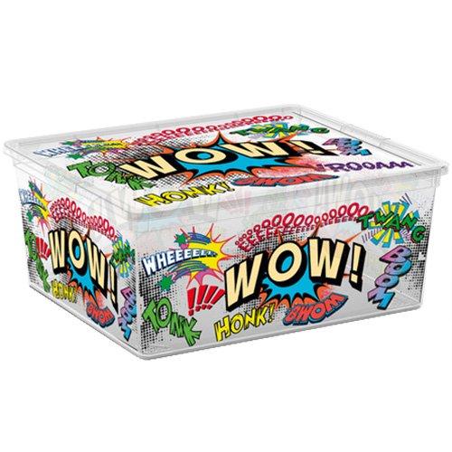 Kis 8409000 1830 01 Boîte de Rangement C Box Style Comics 18 litres, Plastique, Multicolore, 40x34x17 cm