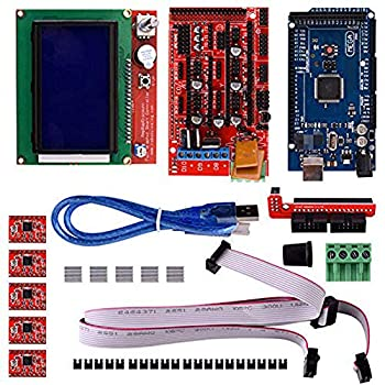 3D Printer Controller Kit RepRap RAMPS 1.4 + 2560 Board + 5pcs A4988 Stepper Motor Driver with Heatsink + LCD 12864 Graphic Smart Display 3D Printer Controller Kit
