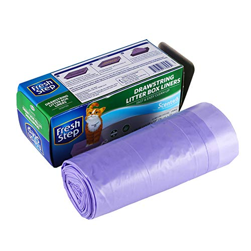 Fresh Step Drawstring Cat Litter Box Liners, Fresh Scent, Size Large, 30' x 17' - 7 Count   Kitty Litter Bags, Cat Litter Liners for All Cats To Keep Your Home Clean
