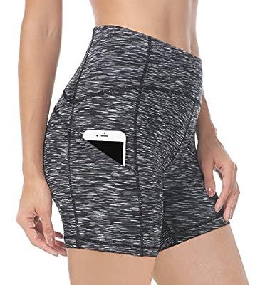 QUEENIEKE Women 6 Inches Inseam Mid-Waist 3-Pocket Running Shorts Workout Fitness Size M Color Dark Grey Space Dye