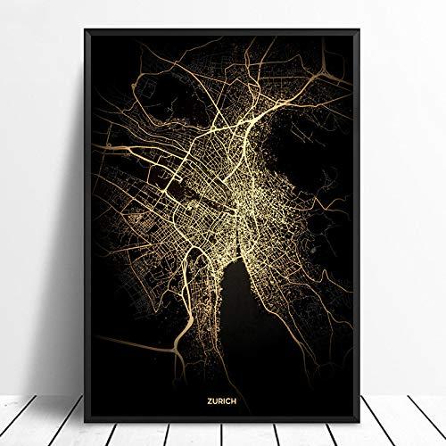 Leinwanddruck,Zürich Schwarz Golden Custom Welt Stadtplan Poster Bilder Drucken Auf Leinwand Im Nordischen Stil Wand Kunst Leinwand Gemälde Für Die Wohnkultur Kein Rahmen, 28 X 40 Zoll (70 Cm X 100