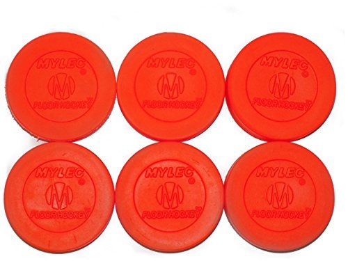 Mylec Floor Hockey Puck, Orange (Pack of 6)
