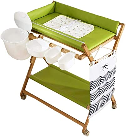 LHSUNTA Changing Table Baby with Wheels Diaper Green