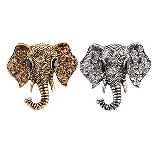 FENICAL Broches de Elefante de Cristal Vintage Broche Vintage Pin de Cabeza de Animal Pin de Solapa joyería cumpleaños Mujeres (Plata Bronce)