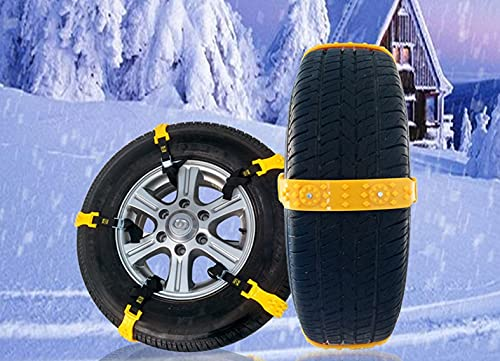 DEDC 10 pz Auto Pneumatici Antiscivolo Catene da Neve Catene Cavi Regolabili trazione di Emergenza Adatte Maggior Parte di Auto SUV Camion Giallo