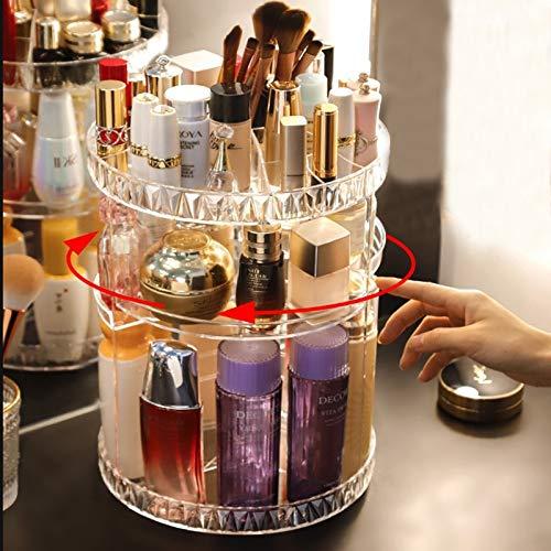 MUY Caja de Almacenamiento de cosméticos Rotat, Organizador de Maquillaje, Soporte de exhibición de lápiz Labial acrílico Transparente, Caja de plástico con patrón de Diamante, Grande