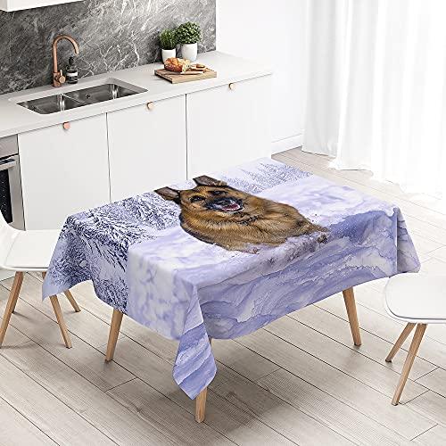 FANSU Mantel Antimanchas Rectangular Efecto Poliéster, 3D Pastor impresión Lavable y Impermeable Mantel para Cocina, Comedor, Exterior, Navidad (Campo Nieve,140x200cm)