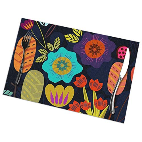 Corner Time Small Artificial Flowers Magical Night Garden Table Placemats for Dining Table,Washable Table mats Heat-Resistant(12x18 inch) Set of 6
