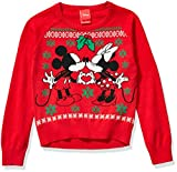 Disney Girls' Ugly Christmas Sweater, Minnie&Mickey/Red, X-Large (14/16)