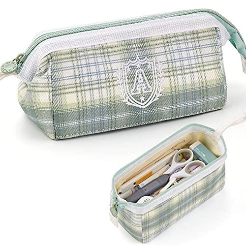 Wenjudai 5 estuches de gran capacidad con cremallera portátil para oficina, papelería, cosméticos, bolsa de poliéster bordado, 18,2 x 8,9 x 9,9 cm, color verde claro