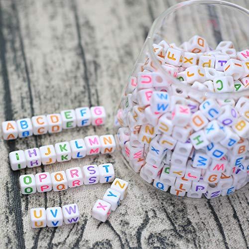 DAHI buchstabenperlen ca. 400stk perlen acryl 8x8mm gemischte weiß perlen mit bunt Buchstaben würfelperlen für Schmuck Basteln (bunt buchstaben/8x8mm)