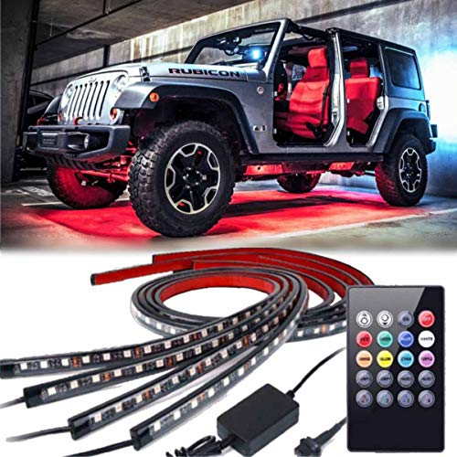 Car Neon Underglow Lights, GOADROM Waterproof RGB LED Strip Light Multi-colored Underbody Exterior Lighting Kit with Sound Active Function and Wireless Remote Control 5050 SMD LED Light Strips