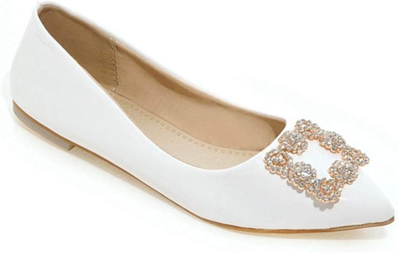 Jocbinltd Women's shoes Fashion Crystal Flats shoes Party shoes for Women Pu Wedding shoes Ladies Dress Flats White