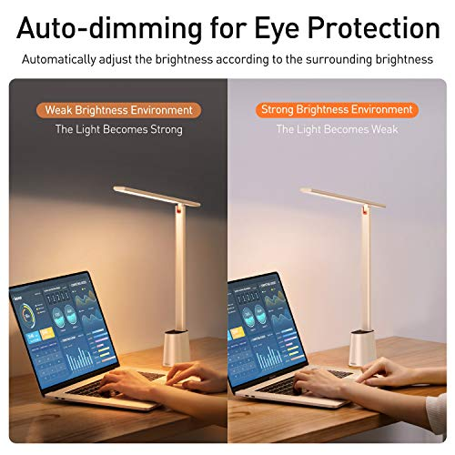 """Baseus LED Desk Lamp, Auto-Dimming Table Lamp, Eye-Caring Smart Lamp, Touch Control, 47"""" Wide Illumination, 250 Lumens, 5W, 3 Color Modes, for Home Office, Living Room, Bedroom, Painting, White"""