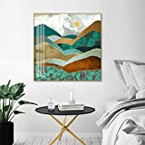 トレンディグリーンゴールデンヒルズ抽象シーンキャンバス絵画印象派ポスタープリントインテリア用リビングルーム家の装飾-60X60Cmフレームレス