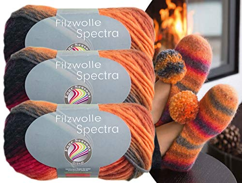 Gründl 3x100 Gramm Filzwolle Spectra aus 100% Schurwolle, (Sparset 06 Orange Schwarz) inkl. Strickanleitung für Filzhausschuhe + 3 Strasssteine zum aufnähen