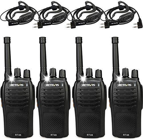 Retevis RT46 Walkie Talkie PMR446 16 Kanalen VOX SOS Zaklamp USB-oplaadkabel Portofoons Oplaadbare Walkietalkie met Headset (2 Paar, Zwart)