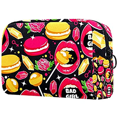 Lip Rose Macaron Diamond Lollipops Trousse de maquillage portable imprimée Trousse cosmétique pour femme Sac de voyage Trousse de toilette