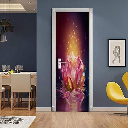 Azbza Pegatinas para puerta de cristal, 76 x 200 cm, diseño abstracto de flores zen, opacas, para decoración del hogar
