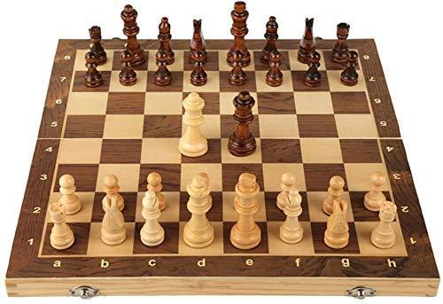 HEZ Schaakset Games Reizen Volwassenen Kids Board Schaken Set Houten Magnetische Schaakset Opvouwbare Schaakbord Collectie met Interieur Opslag Draagbare Internationale Board Game Board Games,39Cm,39Cm