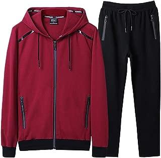 Men's Athletic Tracksuit Bomber/Hoodie Jackets & Pants Set Jogging Sweatsuit Big