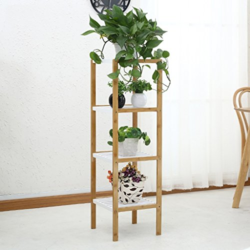 QFF Creative Salon Bamboo Flower Racks Support multicouche de pot de fleur de balcon ( taille : Four layers )
