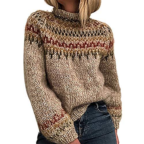 RENJIANFENG Casual Mujeres Cable De Punto De Cuello Alto Suéter del Bloque...