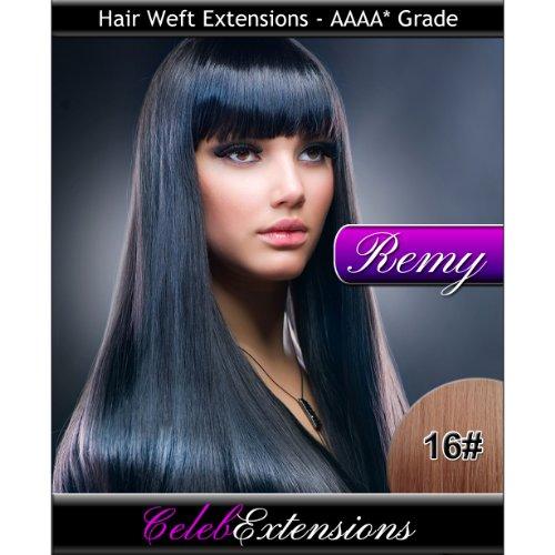 50,8 cm 16 # Marron clair doré indiens 100% humains Remy Hair Extensions capillaires Cheveux. Tissage Silky droit 6 m Poids : 100 g AAAA de grande qualité. Qualité. Par celebextensions