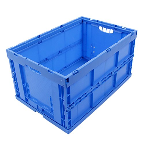 CAJA PLEGABLE 61L, caja plegable de plastico, caja de transporte, cesta de la compra, 60x40x32cm, azul