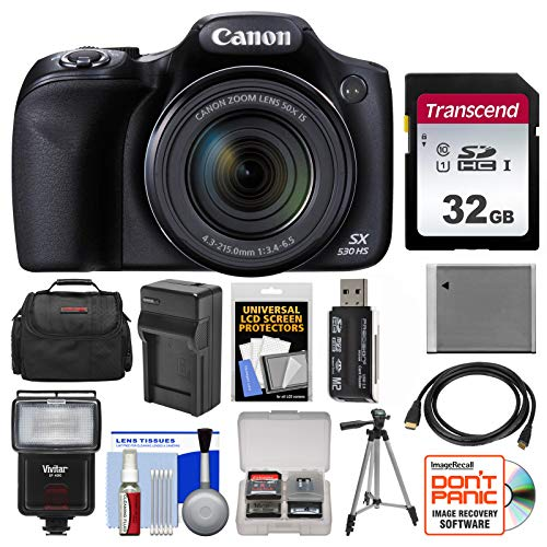 Find Discount Canon PowerShot SX530 HS Wi-Fi Digital Camera with 32GB Card + Case + Flash + Battery ...