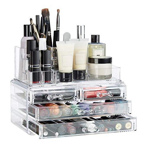 Relaxdays Make Up Organizer mit 4 Schubladen, Kosmetik Halter Nagellack u. Lippenstift, Acryl Make Up Kit, transparent