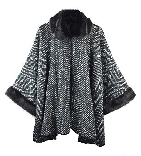 Bruceriver Womens Casual Open Front Faux Fur Poncho Cape Cardigan Sweater Colour Black
