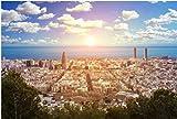 ZZXSY Puzle Madera 1000 Piezas Vista Panorámica del Bunker del Carmel Desde La Torre Agbar, El Mar Y La Ciudad De Barcelona. Regalo Personalizado