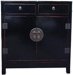 Etnicart - Credenza Cinese lacca nera-93x99x45-Mobile in Legno per Ingresso Soggiorno Cucina Bagno e Camera