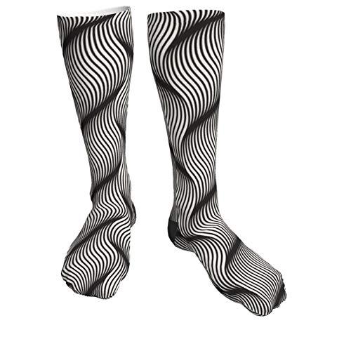 Unisex Socken mit Wellenmuster, atmungsaktiv, für Damen und Herren, Weiß / Schwarz