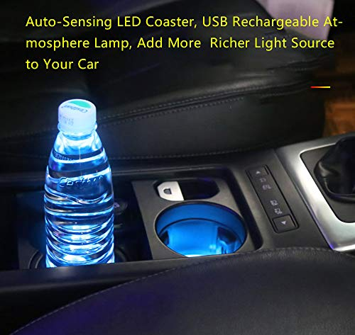 2pcs LED Car Cup Holder Lights for Nissan, 7 Colors Changing USB Charging Mat Luminescent Cup Pad,Nissan LED Accessories Interior Atmosphere Lamp