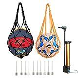 dancepandas Lot de 2 sacs de basketball légers avec pompe à air et 10 aiguilles de rechange pour votre football, rugby, volley-ball, basketball, handball (noir et jaune)
