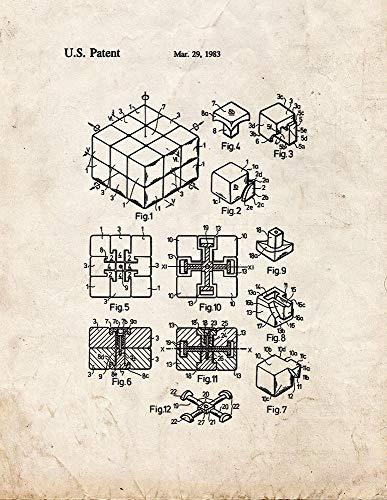 Rubik Cube Toy Patent Print Old Look M10643 - Cubo de Rubik (13 x 48 cm)