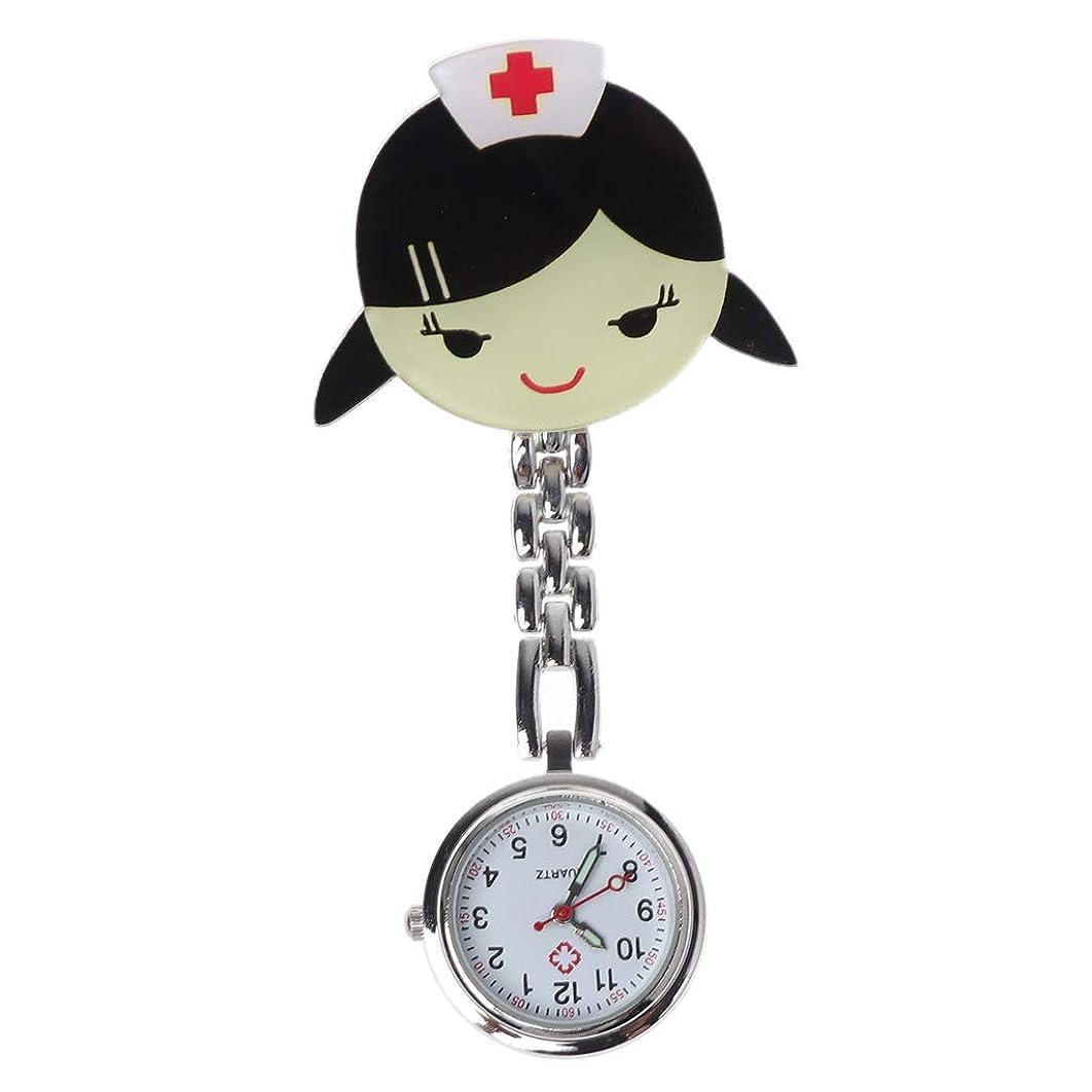 明らかに体系的に電圧ナースウォッチかわいい漫画病院医療胸時計ポケットアクリルレトロファッションシルバーハンギングクリップクォーツペンダント女性女の子ギフトポータブル銀色