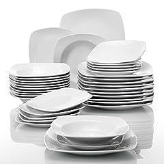 Idea Regalo - MALACASA, Serie Julia, Servizio Piatti 12 Persone Offerte Servizio da Tavola in Porcellana Set 36 Pezzi con 12 Piatti, 12 Piatti Fondi e 12 Piatti da Dessert