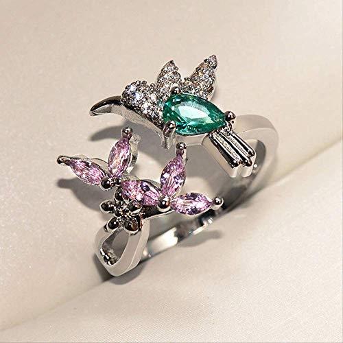 IWINO Fashion Gift Hummingbird Ring voor vrouw verstelbare Aaa Zircon Ring vrouwelijke kleur vogel Ring Lady sieraden geschenken voor meisjes