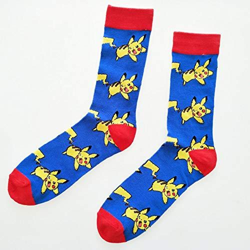 DYCZWZ Unisex Sport- Und Freizeitsocken 2 Paar Mode Pokemon Ball Unisex Socken Baumwolle Frau Mann Cartoon Socken Geschenk Jacquard Cartoon Prototyp Herrensocken