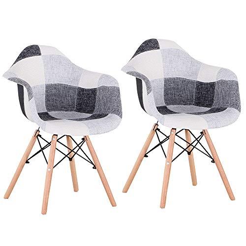 N/C – Juego de 2 sillas de cocina, silla de comedor, asiento de lino, estilo escandinavo, patchwork, color negro