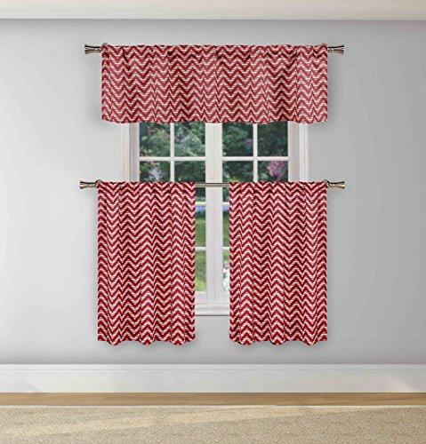 Duck River Textile Ayeris Chevron Stripe Print Kitchen Tier & Valance Set | Small Window Curtain for Cafe, Bath, Laundry, Bedroom, Garnet