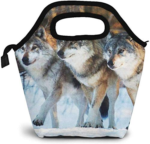 Bolsa de almuerzo con tres lobos, impermeables, reutilizables, duraderas, con aislamiento, loncheras para hombres, mujeres, oficina, picnic, viaje, bolsa para mamá