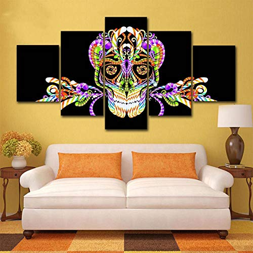 NoBrand modern, abstract, 5 panelen, doodskop, bedrukt, canvas, wand, kunst, foto, decoratie thuis, voor woonkamer, HD-printer, 20 x 35 cm x 2 x 45 cm x 2 x 55 cm, zonder lijst